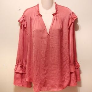 A new day pink blouse with ruffled sleeve size XL
